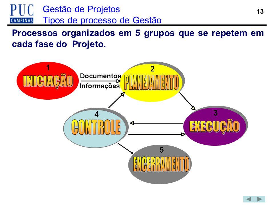 Gestão de Projetos Tipos de processo de Gestão