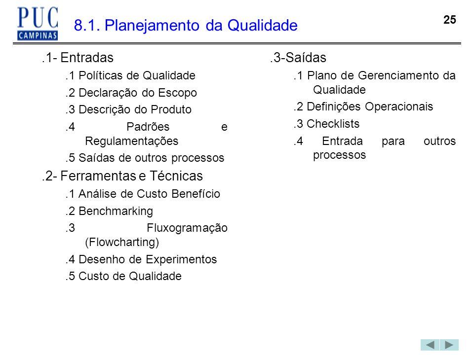 8.1. Planejamento da Qualidade