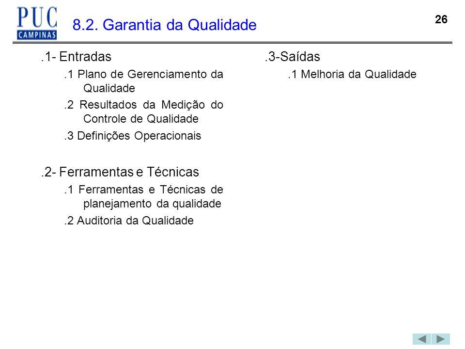 8.2. Garantia da Qualidade .1- Entradas .2- Ferramentas e Técnicas