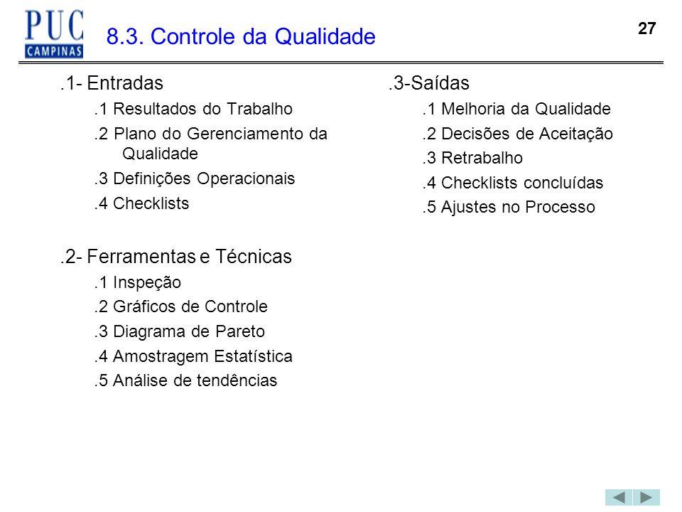 8.3. Controle da Qualidade .1- Entradas .2- Ferramentas e Técnicas