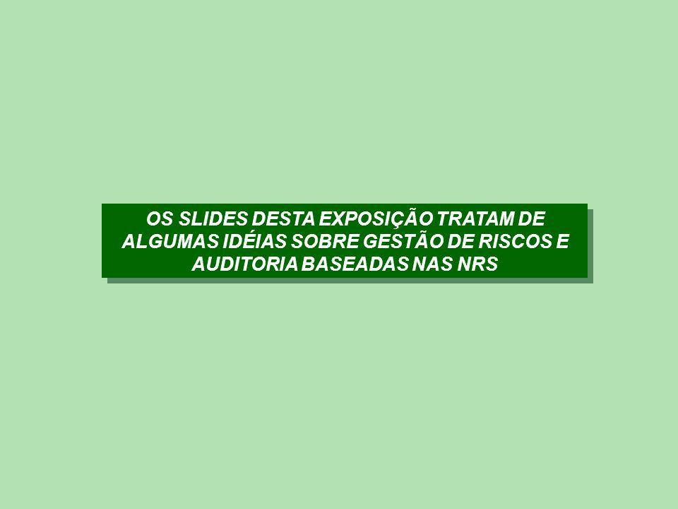 OS SLIDES DESTA EXPOSIÇÃO TRATAM DE ALGUMAS IDÉIAS SOBRE GESTÃO DE RISCOS E AUDITORIA BASEADAS NAS NRS