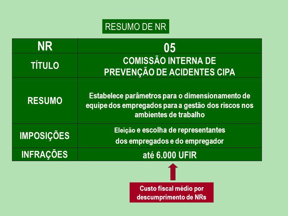 NR 05 RESUMO DE NR COMISSÃO INTERNA DE PREVENÇÃO DE ACIDENTES CIPA