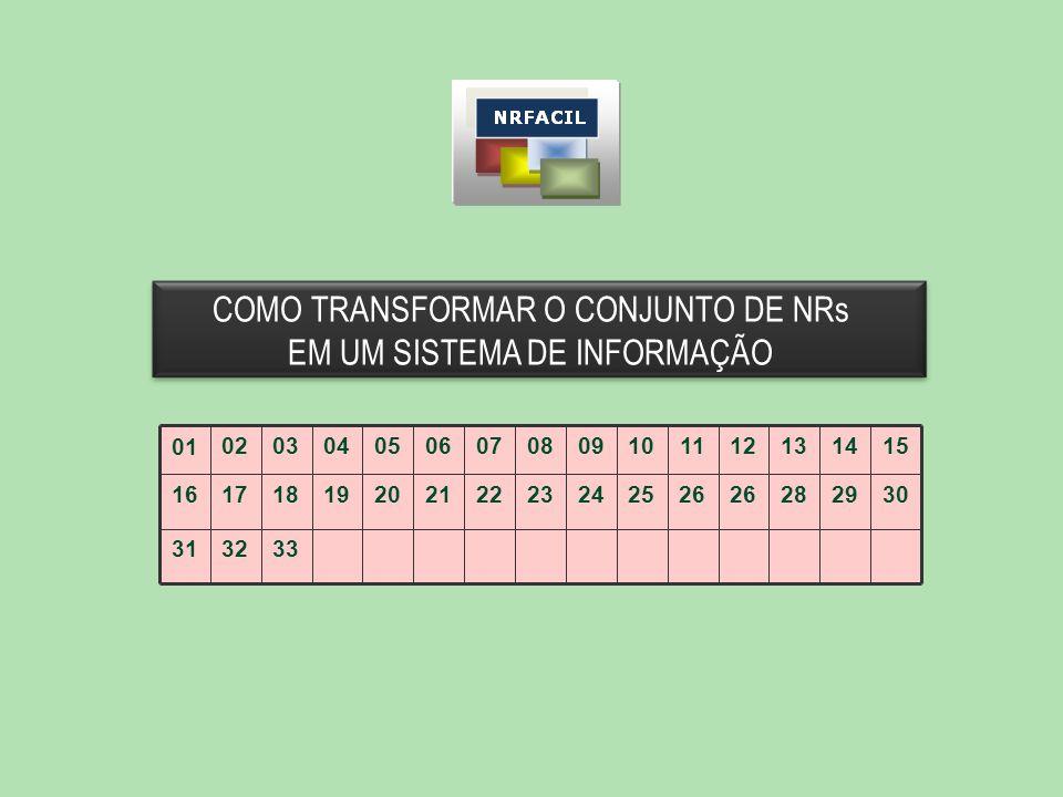 COMO TRANSFORMAR O CONJUNTO DE NRs EM UM SISTEMA DE INFORMAÇÃO