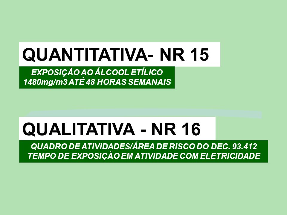 EXPOSIÇÃO AO ÁLCOOL ETÍLICO 1480mg/m3 ATÉ 48 HORAS SEMANAIS
