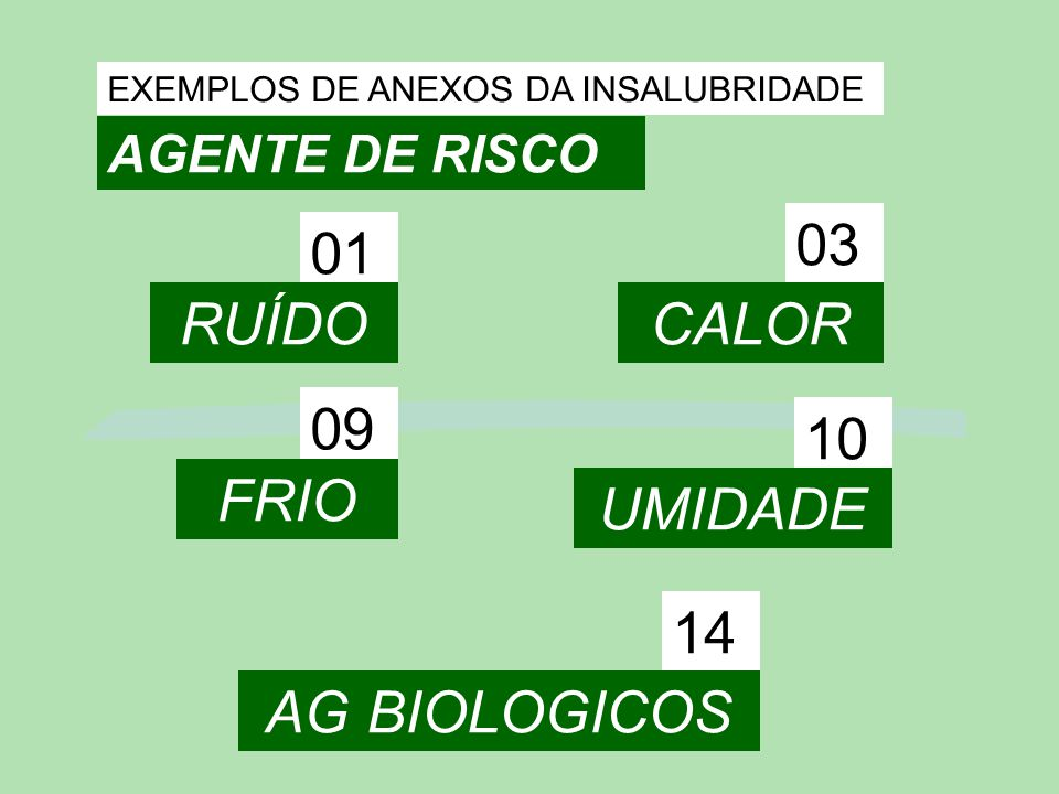 03 01 RUÍDO CALOR 09 10 FRIO UMIDADE 14 AG BIOLOGICOS AGENTE DE RISCO