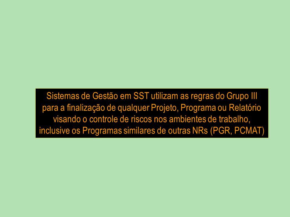 Sistemas de Gestão em SST utilizam as regras do Grupo III para a finalização de qualquer Projeto, Programa ou Relatório
