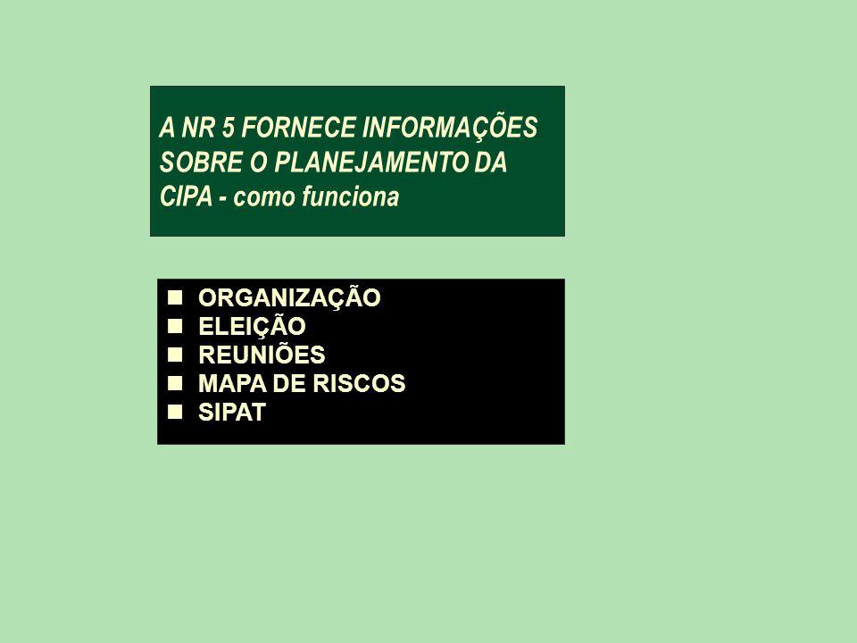 A NR 5 FORNECE INFORMAÇÕES SOBRE O PLANEJAMENTO DA CIPA - como funciona