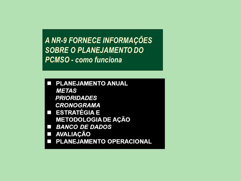 A NR-9 FORNECE INFORMAÇÕES SOBRE O PLANEJAMENTO DO PCMSO - como funciona