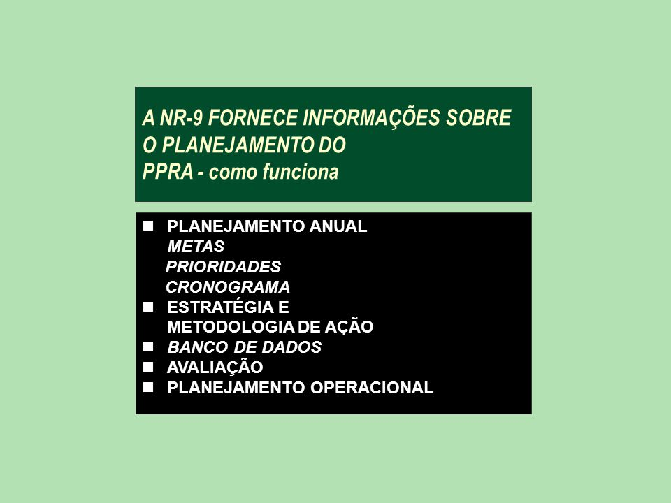 A NR-9 FORNECE INFORMAÇÕES SOBRE O PLANEJAMENTO DO PPRA - como funciona
