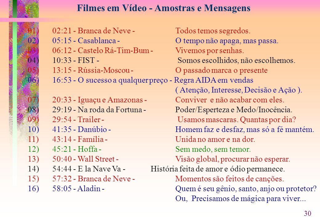 Filmes em Vídeo - Amostras e Mensagens