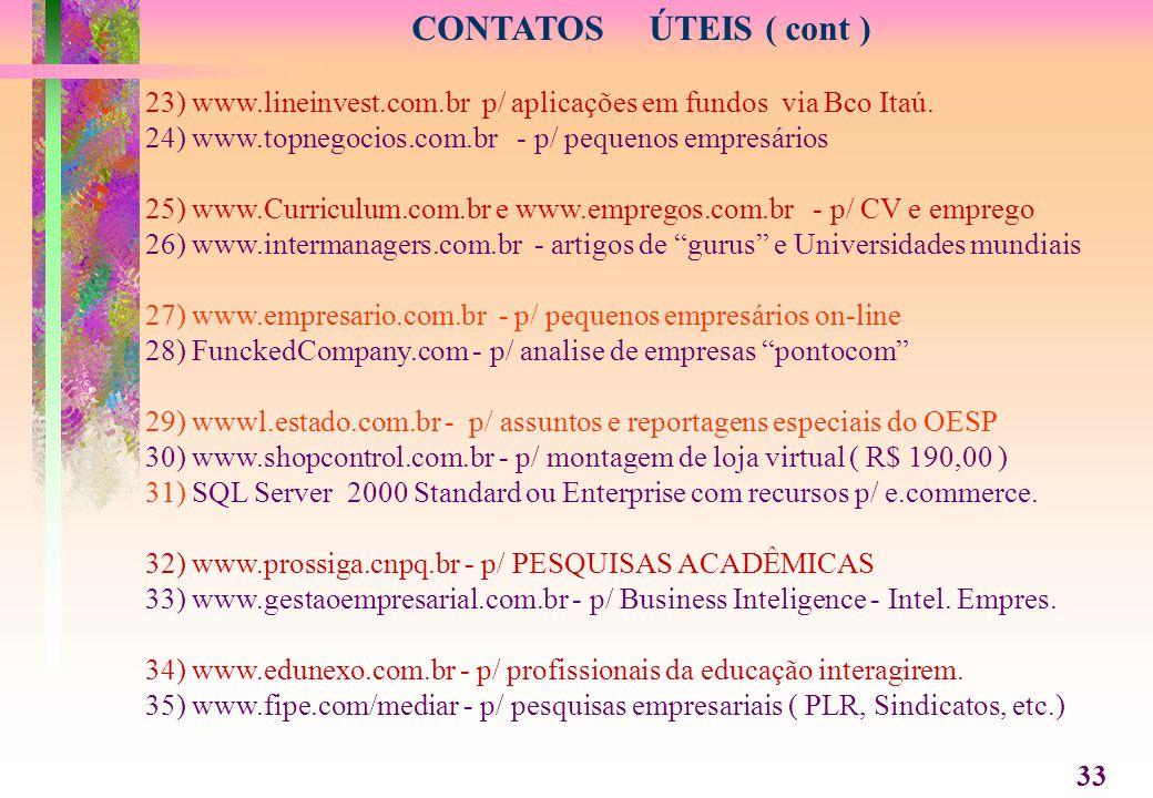CONTATOS ÚTEIS ( cont ) 23) www.lineinvest.com.br p/ aplicações em fundos via Bco Itaú. 24) www.topnegocios.com.br - p/ pequenos empresários.