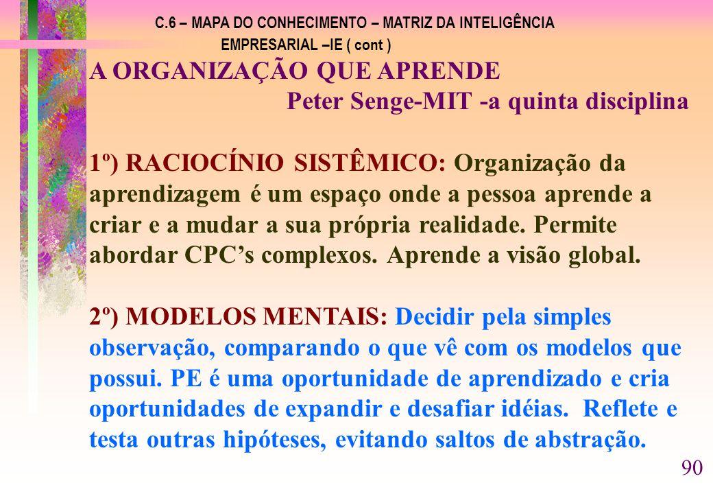 A ORGANIZAÇÃO QUE APRENDE Peter Senge-MIT -a quinta disciplina