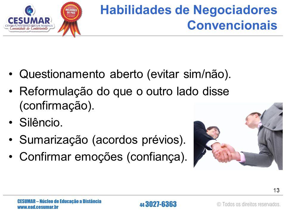 Habilidades de Negociadores Convencionais