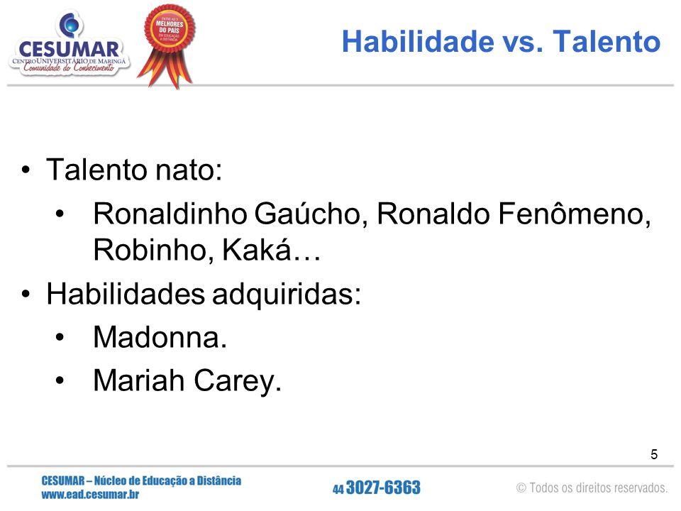 Habilidade vs. Talento Talento nato: Ronaldinho Gaúcho, Ronaldo Fenômeno, Robinho, Kaká… Habilidades adquiridas: