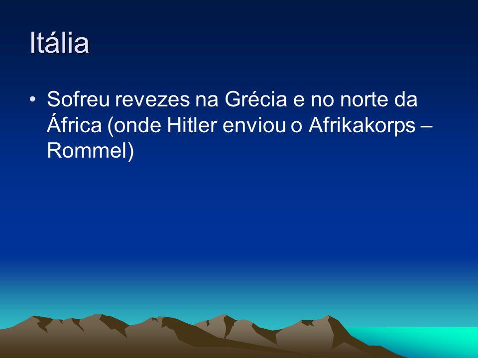 Itália Sofreu revezes na Grécia e no norte da África (onde Hitler enviou o Afrikakorps – Rommel)