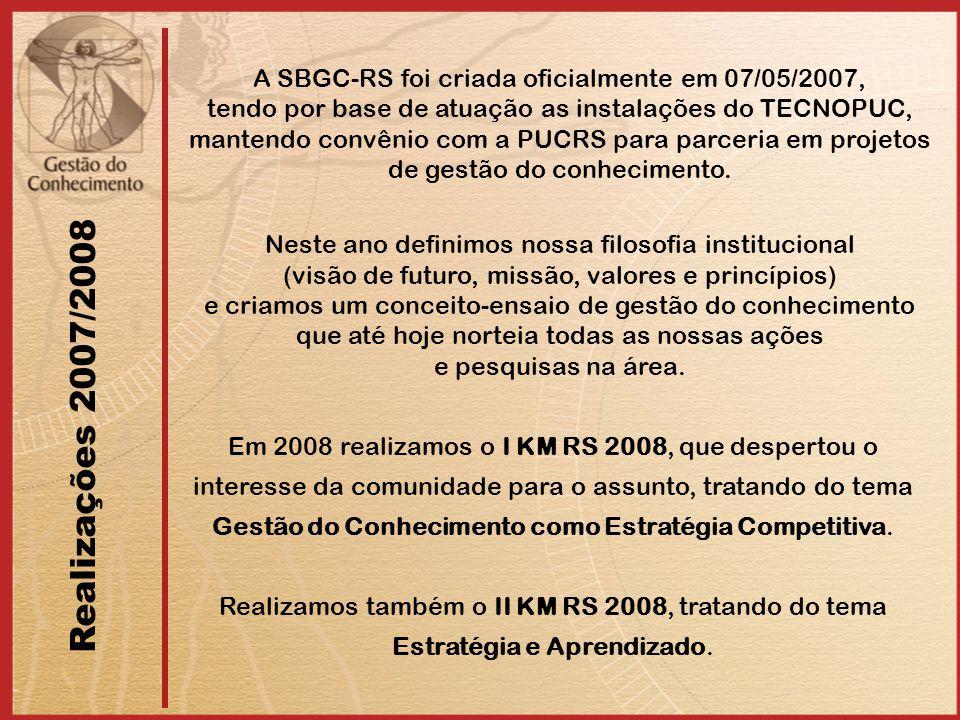 Realizações 2007/2008 A SBGC-RS foi criada oficialmente em 07/05/2007,