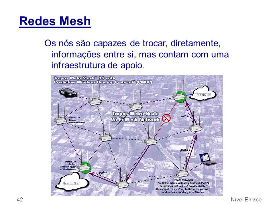 Redes Mesh Os nós são capazes de trocar, diretamente, informações entre si, mas contam com uma infraestrutura de apoio.