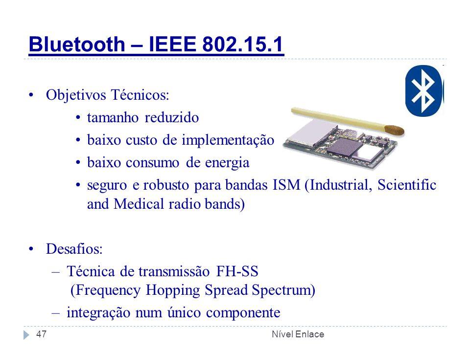 Bluetooth – IEEE 802.15.1 Objetivos Técnicos: tamanho reduzido