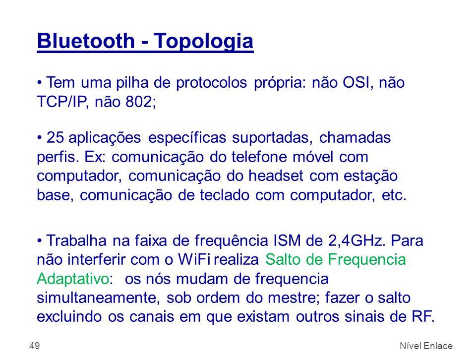Bluetooth - Topologia Tem uma pilha de protocolos própria: não OSI, não TCP/IP, não 802;