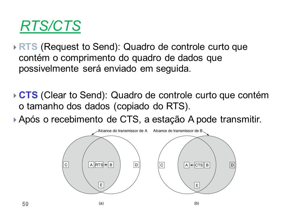RTS/CTS RTS (Request to Send): Quadro de controle curto que contém o comprimento do quadro de dados que possivelmente será enviado em seguida.