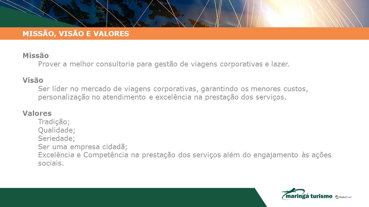 MISSÃO, VISÃO E VALORES Missão. Prover a melhor consultoria para gestão de viagens corporativas e lazer.