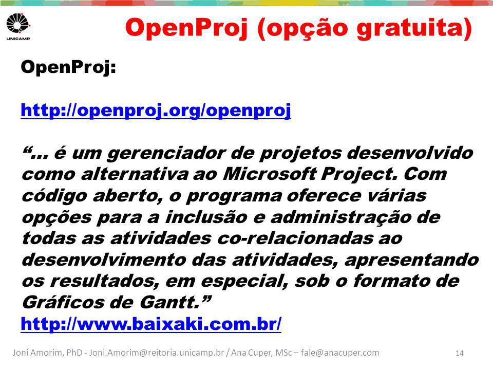 OpenProj (opção gratuita)