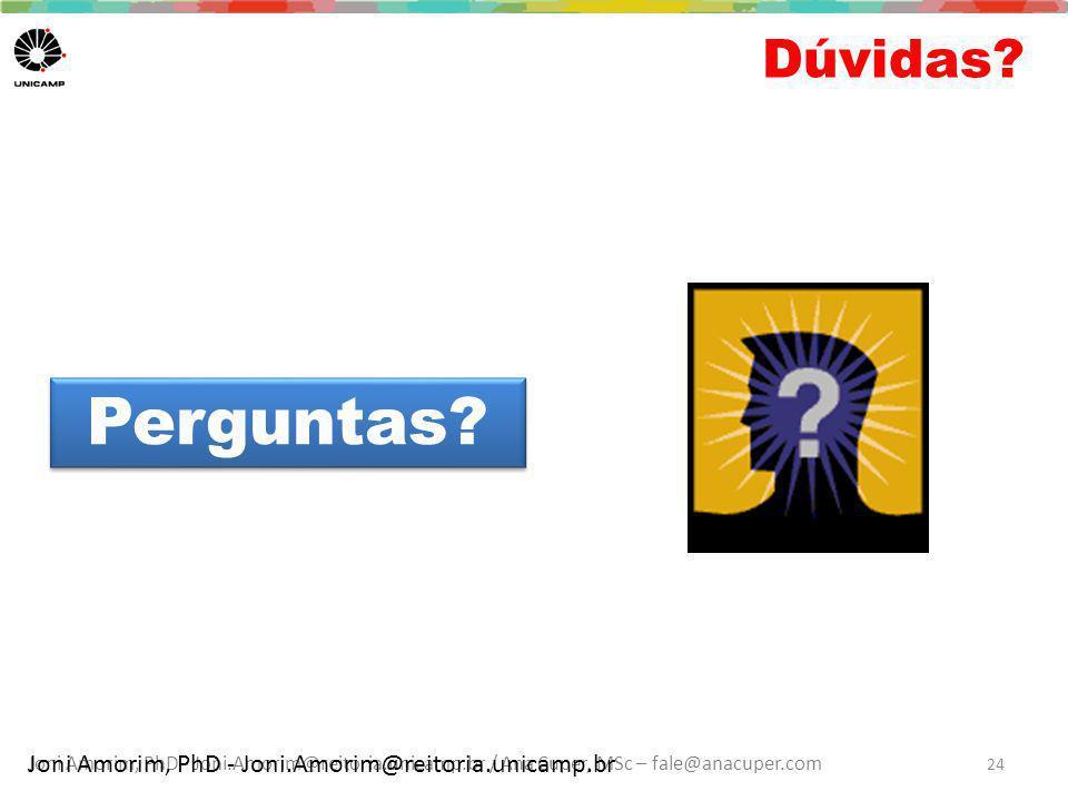 Dúvidas Perguntas Joni Amorim, PhD - Joni.Amorim@reitoria.unicamp.br