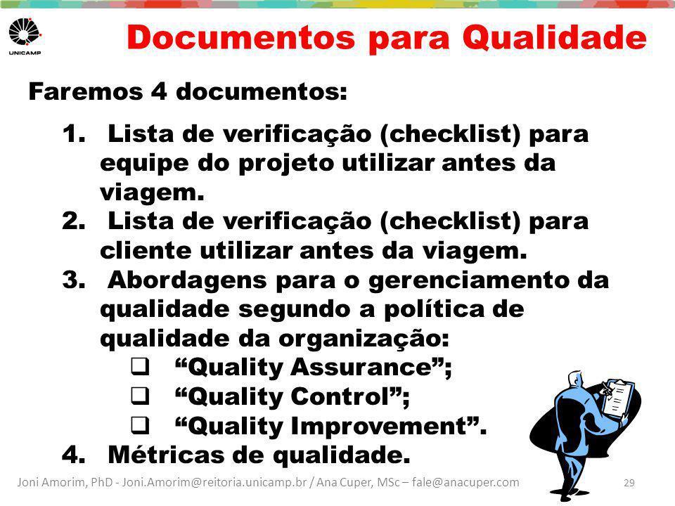 Documentos para Qualidade