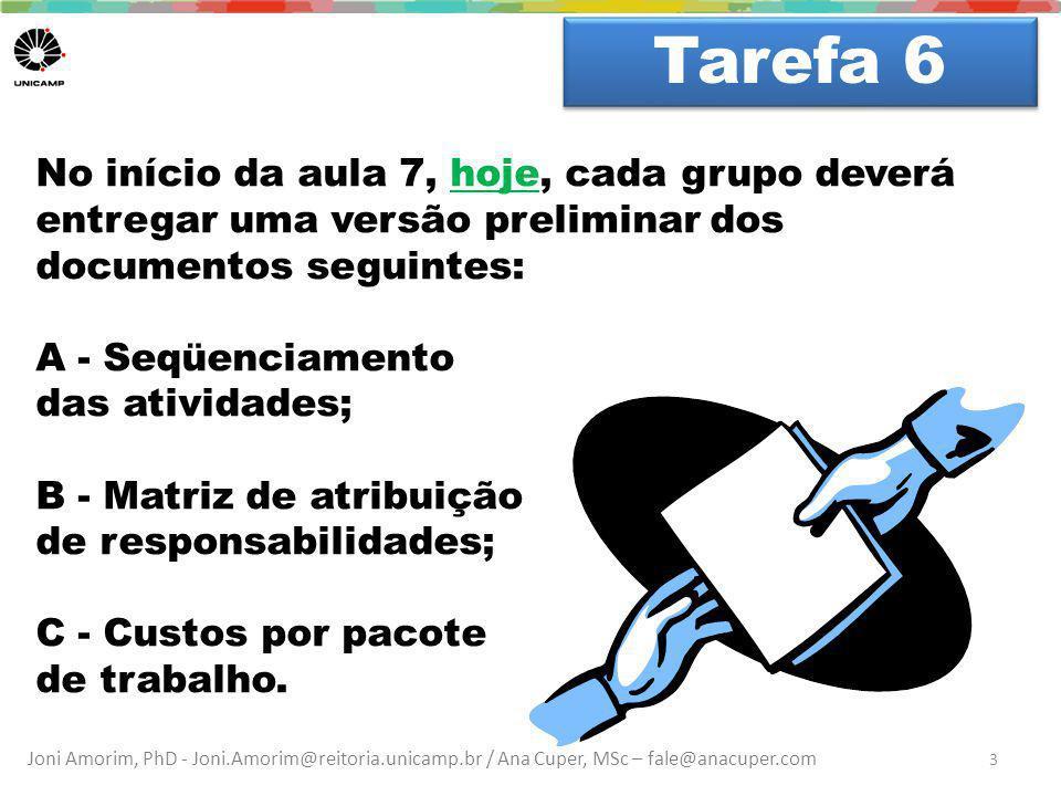 Tarefa 6 Dúvidas No início da aula 7, hoje, cada grupo deverá entregar uma versão preliminar dos documentos seguintes: