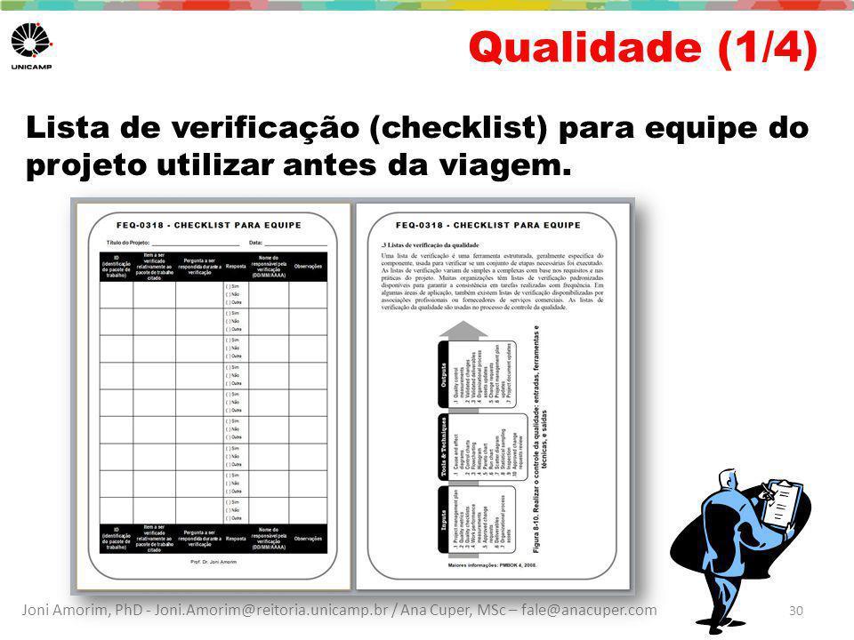 Qualidade (1/4) Lista de verificação (checklist) para equipe do projeto utilizar antes da viagem.