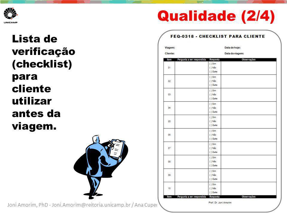 Qualidade (2/4) Lista de verificação (checklist) para cliente utilizar antes da viagem.