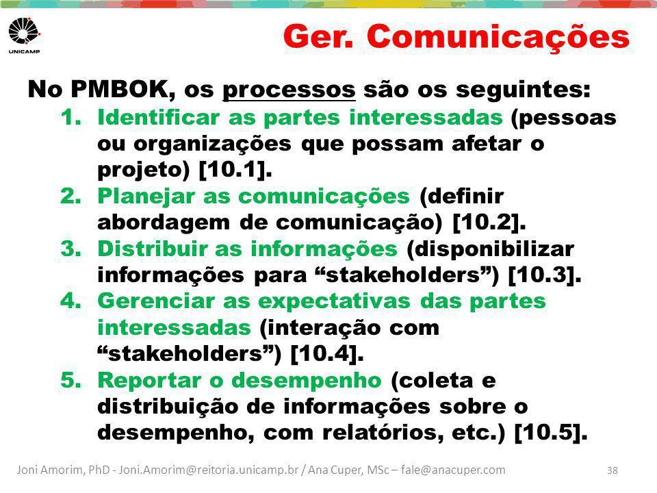 Ger. Comunicações No PMBOK, os processos são os seguintes: