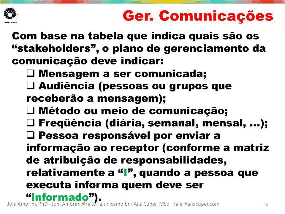 Ger. Comunicações Com base na tabela que indica quais são os stakeholders , o plano de gerenciamento da comunicação deve indicar: