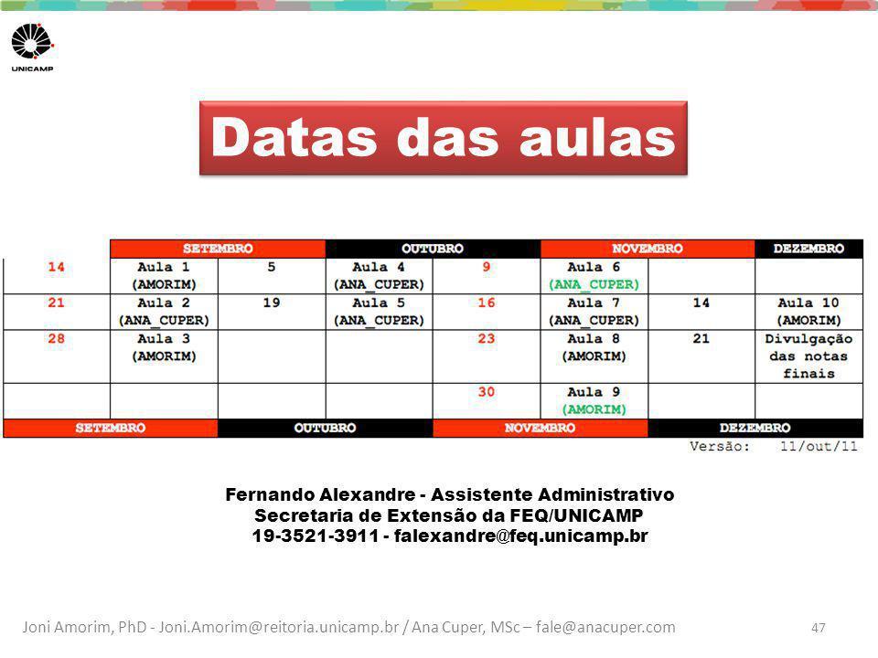 Datas das aulas Fernando Alexandre - Assistente Administrativo