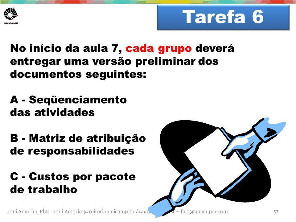Tarefa 6 Dúvidas No início da aula 7, cada grupo deverá entregar uma versão preliminar dos documentos seguintes:
