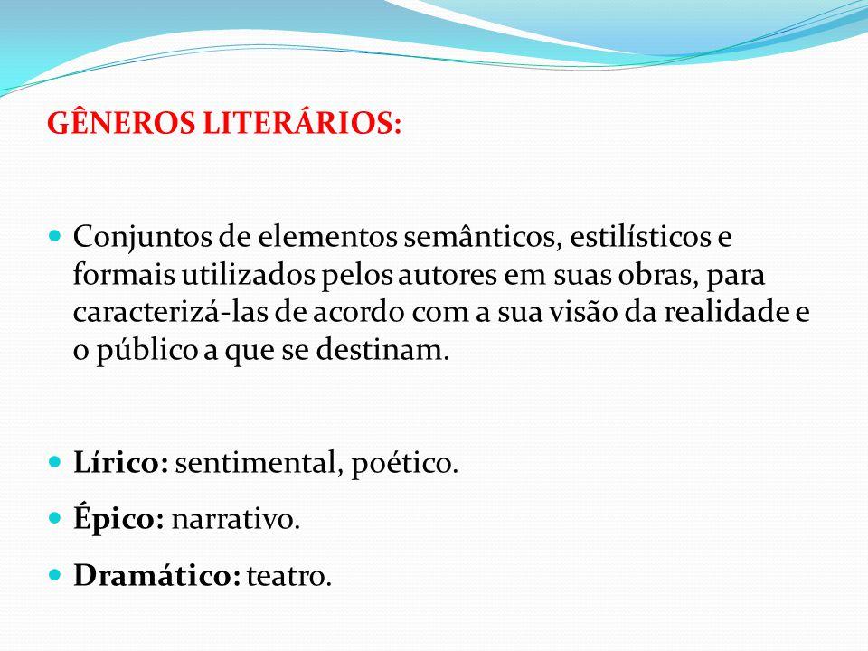 GÊNEROS LITERÁRIOS: