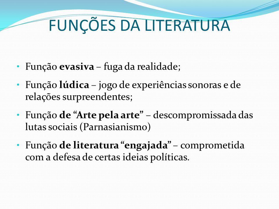 FUNÇÕES DA LITERATURA Função evasiva – fuga da realidade;