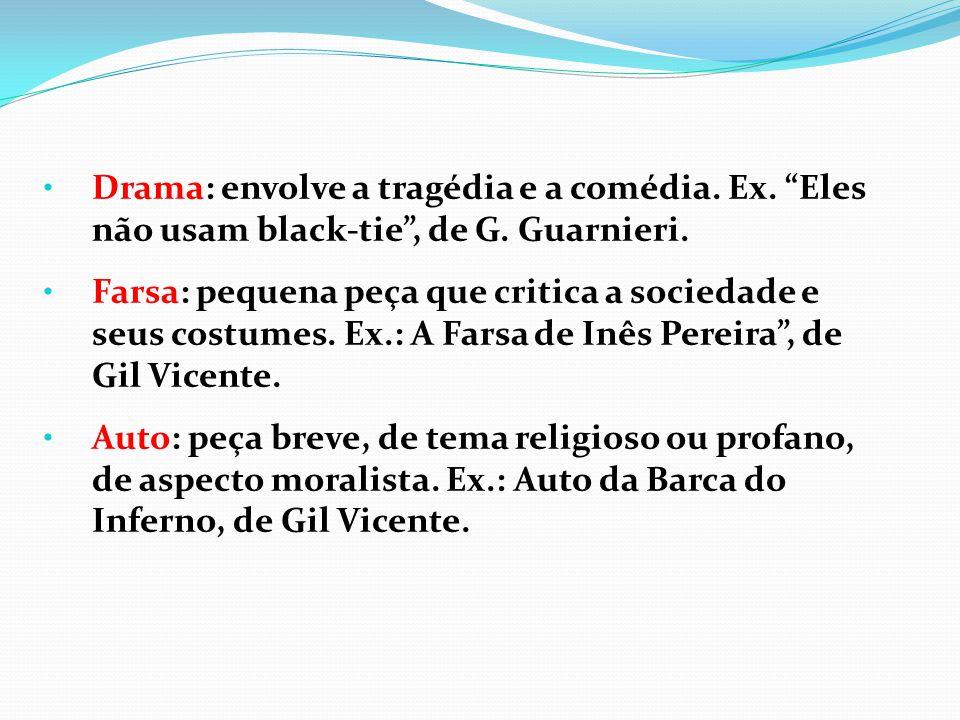 Drama: envolve a tragédia e a comédia. Ex