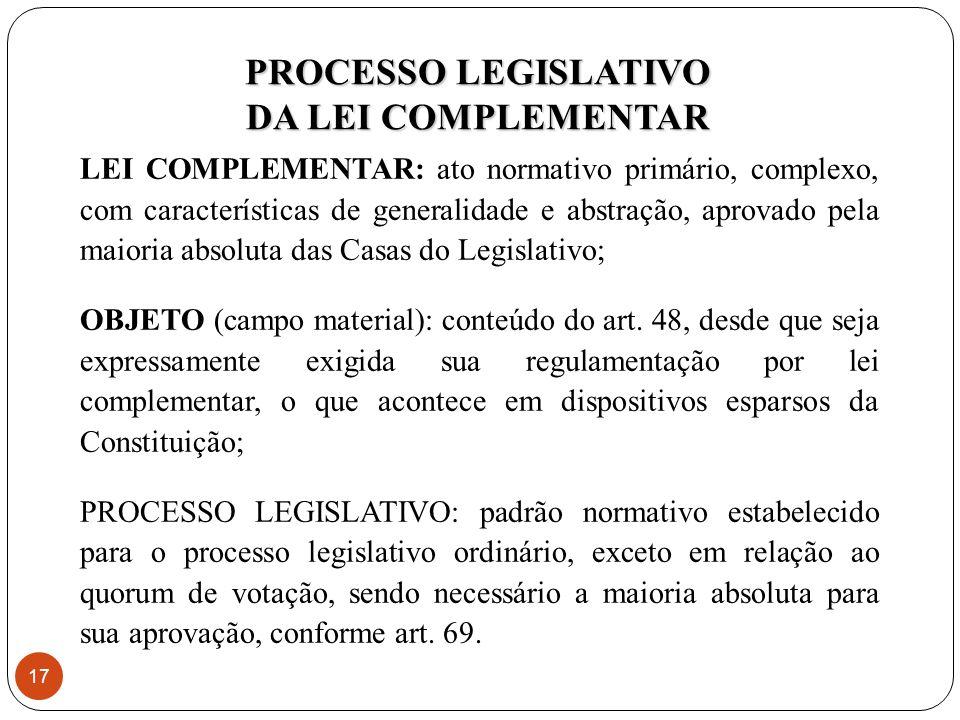 PROCESSO LEGISLATIVO DA LEI COMPLEMENTAR