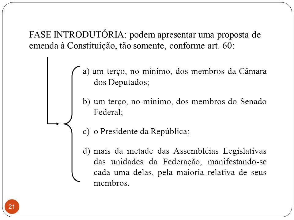 FASE INTRODUTÓRIA: podem apresentar uma proposta de emenda à Constituição, tão somente, conforme art. 60: