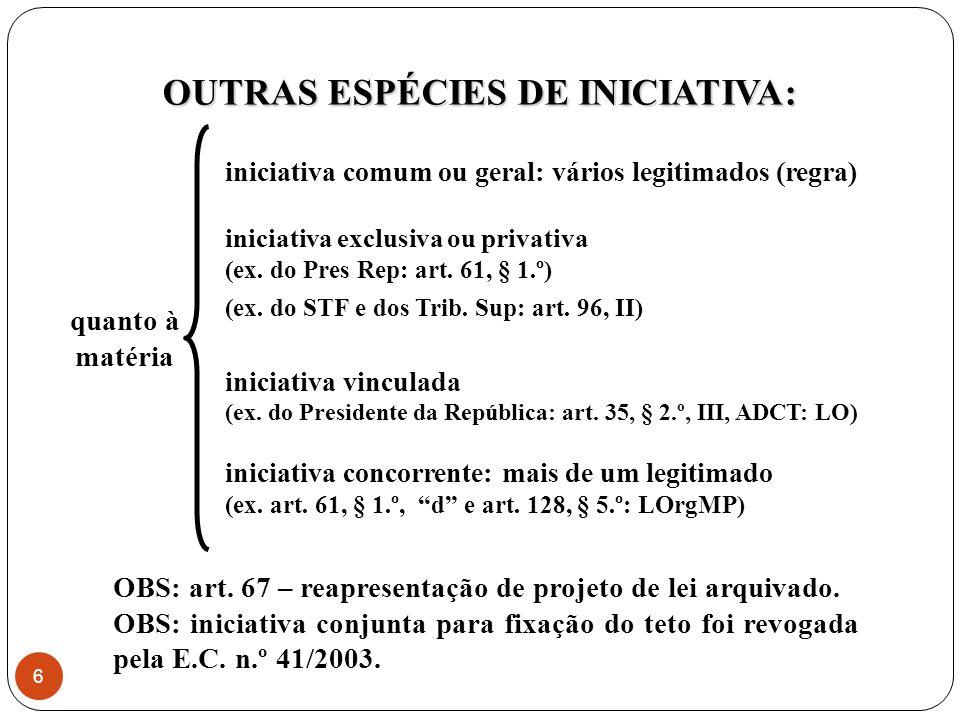 OUTRAS ESPÉCIES DE INICIATIVA: