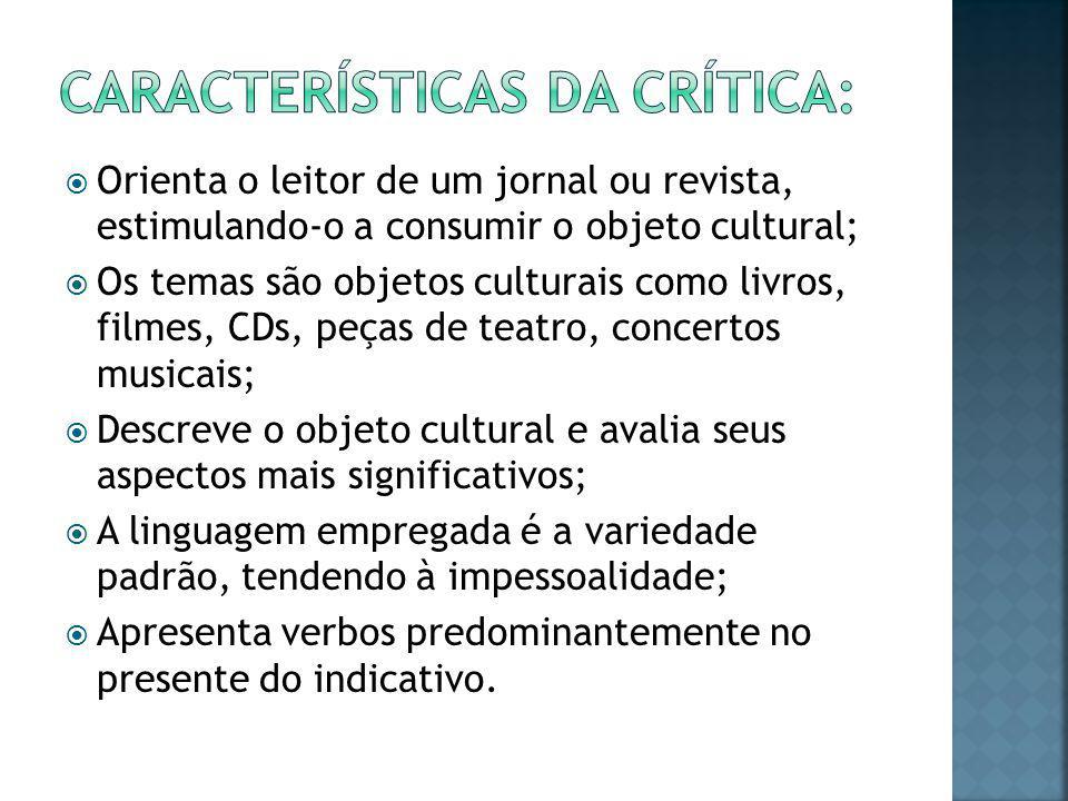 Características da crítica: