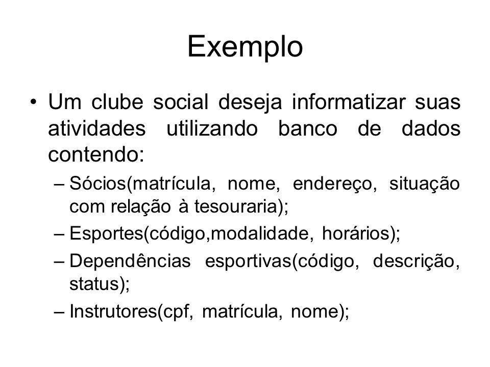 Exemplo Um clube social deseja informatizar suas atividades utilizando banco de dados contendo: