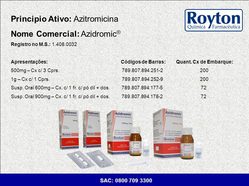 Principio Ativo: Azitromicina Nome Comercial: Azidromic®