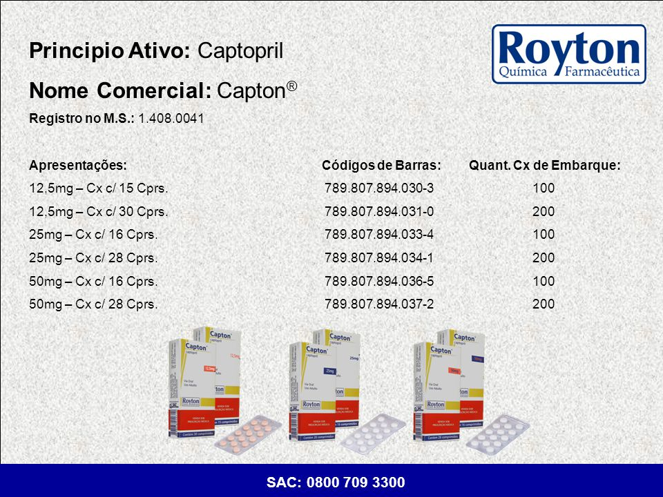 Principio Ativo: Captopril Nome Comercial: Capton®