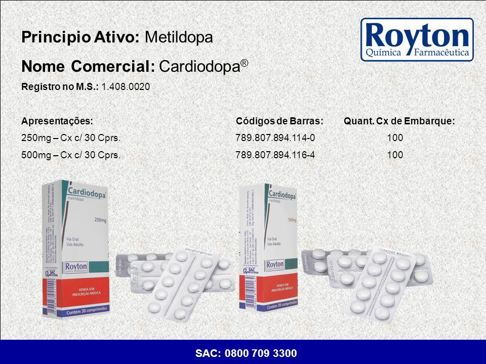 Principio Ativo: Metildopa Nome Comercial: Cardiodopa®