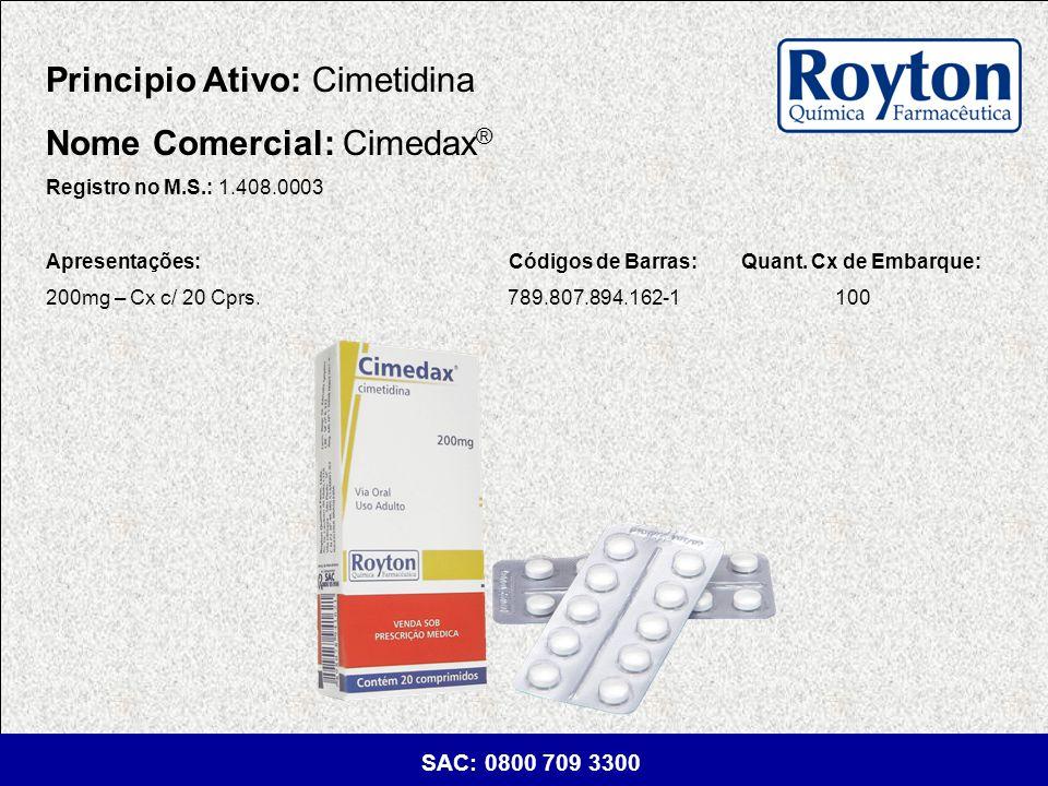 Principio Ativo: Cimetidina Nome Comercial: Cimedax®