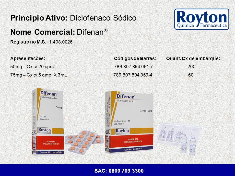 Principio Ativo: Diclofenaco Sódico Nome Comercial: Difenan®