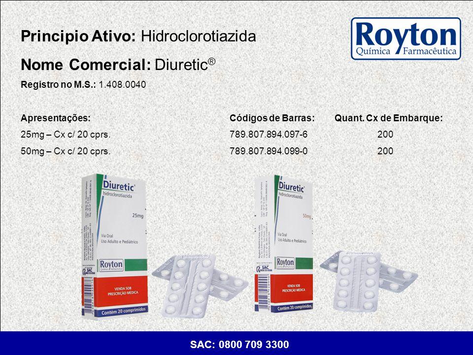 Principio Ativo: Hidroclorotiazida Nome Comercial: Diuretic®