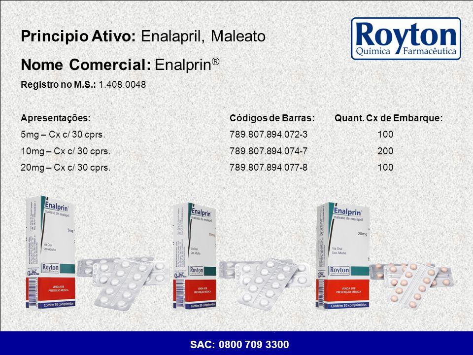 Principio Ativo: Enalapril, Maleato Nome Comercial: Enalprin®